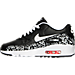 Left view of Girls' Grade School Nike Air Max 90 Print Leather Running Shoes in Black/White/Lava Glow
