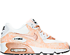 Girls' Grade School Nike Air Max 90 Print Leather Running Shoes