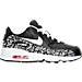 Right view of Girls' Preschool Nike Air Max 90 Print Leather Running Shoes in Black/White/Lava Glow