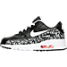Left view of Girls' Preschool Nike Air Max 90 Print Leather Running Shoes in Black/White/Lava Glow