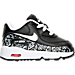 Right view of Girls' Toddler Nike Air Max 90 Print Leather Running Shoes in Black/White/Lava Glow