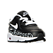 Three Quarter view of Girls' Toddler Nike Air Max 90 Print Leather Running Shoes in Black/White/Lava Glow