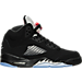 Right view of Boys' Grade School Air Jordan 5 Retro Basketball Shoes in Black/Fire Red/Metallic Silver