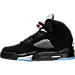 Left view of Boys' Grade School Air Jordan 5 Retro Basketball Shoes in Black/Fire Red/Metallic Silver