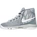 Left view of Boys' Preschool Nike Air Devosion Basketball Shoes in Wolf Grey/White/Cool Grey