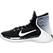 Left view of Boys' Grade School Nike Prime Hype DF 2016 Basketball Shoes in Black/White