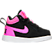 Right view of Girls' Toddler Nike Court Borough Mid Casual Shoes in Black/Pink Blast