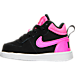 Left view of Girls' Toddler Nike Court Borough Mid Casual Shoes in Black/Pink Blast