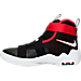Left view of Boys' Preschool Nike LeBron Soldier 10 Basketball Shoes in Black/White/University Red