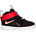 Right view of Boys' Toddler Nike LeBron Zoom Soldier 10 Basketball Shoes in Black/White/University Red