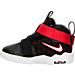 Left view of Boys' Toddler Nike LeBron Zoom Soldier 10 Basketball Shoes in Black/White/University Red