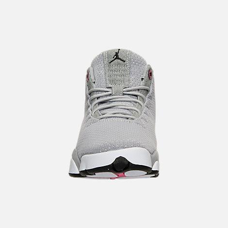 Front view of Girls' Grade School Jordan Horizon Low (3.5y-9.5y) Basketball Shoes in Wolf Grey/Black/White/Vivid Pink