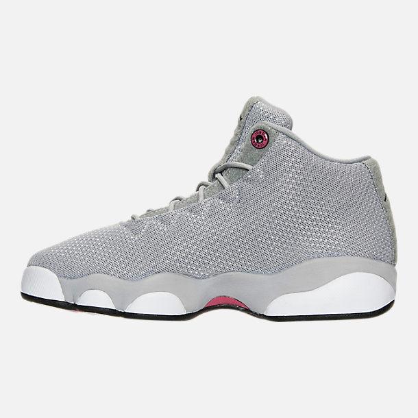Left view of Girls' Grade School Jordan Horizon Low (3.5y-9.5y) Basketball Shoes in Wolf Grey/Black/White/Vivid Pink