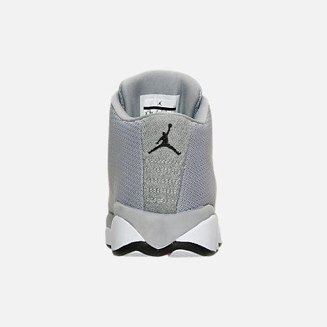 Back view of Girls' Grade School Jordan Horizon Low (3.5y-9.5y) Basketball Shoes in Wolf Grey/Black/White/Vivid Pink