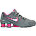 Right view of Girls' Grade School Nike Shox Avenue Running Shoes in Cool Grey/Vivid Pink/Metallic
