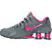 Left view of Girls' Grade School Nike Shox Avenue Running Shoes in Cool Grey/Vivid Pink/Metallic
