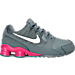 Right view of Girls' Preschool Nike Shox Avenue Running Shoes in Cool Grey/Vivid Pink/Metallic Silver