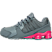 Left view of Girls' Preschool Nike Shox Avenue Running Shoes in Cool Grey/Vivid Pink/Metallic Silver
