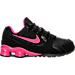 Right view of Girls' Preschool Nike Shox Avenue Running Shoes in Black/Vivid Pink/Metallic Silver
