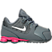 Right view of Girls' Toddler Nike Shox Avenue Running Shoes in Cool Grey/Vivid Pink/Metallic