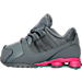 Left view of Girls' Toddler Nike Shox Avenue Running Shoes in Cool Grey/Vivid Pink/Metallic