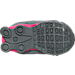 Bottom view of Girls' Toddler Nike Shox Avenue Running Shoes in Cool Grey/Vivid Pink/Metallic