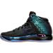 Left view of Boys' Grade School Air Jordan XXXI Basketball Shoes in Black/Metallic Silver