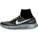 Left view of Women's Nike LunarEpic Flyknit Shield Running Shoes in Black/Metallic Silver/Dark Grey/Stealth