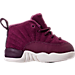 Right view of Boys' Toddler Jordan Retro 12 Basketball Shoes in Bordeaux/Sail/Metallic Silver