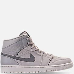 나이키 Nike Mens Air Jordan Retro 1 Mid Premium Basketball Shoes,Light Bone/Grey Fog/Reflect Silver