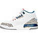 Left view of Boys' Grade School Air Jordan Retro 3 Basketball Shoes in White/Fire Red/Tr Blu/Cmnt Gry