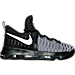 Right view of Boys' Grade School Nike KD 9 Basketball Shoes in Black/White