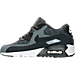 Left view of Boys' Grade School Nike Air Max 90 SE Leather Running Shoes in Cool Grey/Anthracite/White