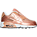 Right view of Girls' Preschool Nike Air Max 90 SE Leather Running Shoes in Metallic Red Bronze/Metallic Red Bronze