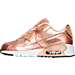 Left view of Girls' Preschool Nike Air Max 90 SE Leather Running Shoes in Metallic Red Bronze/Metallic Red Bronze