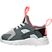 Left view of Girls' Toddler Nike Air Huarache Run Ultra Casual Shoes in Pure Platinum/Anthracite/Lava Glow