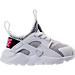 Right view of Girls' Toddler Nike Air Huarache Run Ultra Casual Shoes in White/Black/Pink Blast