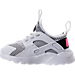 Left view of Girls' Toddler Nike Air Huarache Run Ultra Casual Shoes in White/Black/Pink Blast