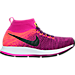 Right view of Girls' Grade School Nike Zoom Pegasus All Out Flyknit Running Shoes in Bright Grape/Black/Fire Pink