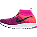 Left view of Girls' Grade School Nike Zoom Pegasus All Out Flyknit Running Shoes in Bright Grape/Black/Fire Pink