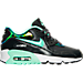Right view of Girls' Grade School Nike Air Max 90 SE Leather Running Shoes in Anthracite/Green Glow/Platinum