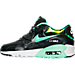 Left view of Girls' Grade School Nike Air Max 90 SE Leather Running Shoes in Anthracite/Green Glow/Platinum