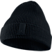 Front view of Jordan Loose Gauge Cuff Knit Hat in Black
