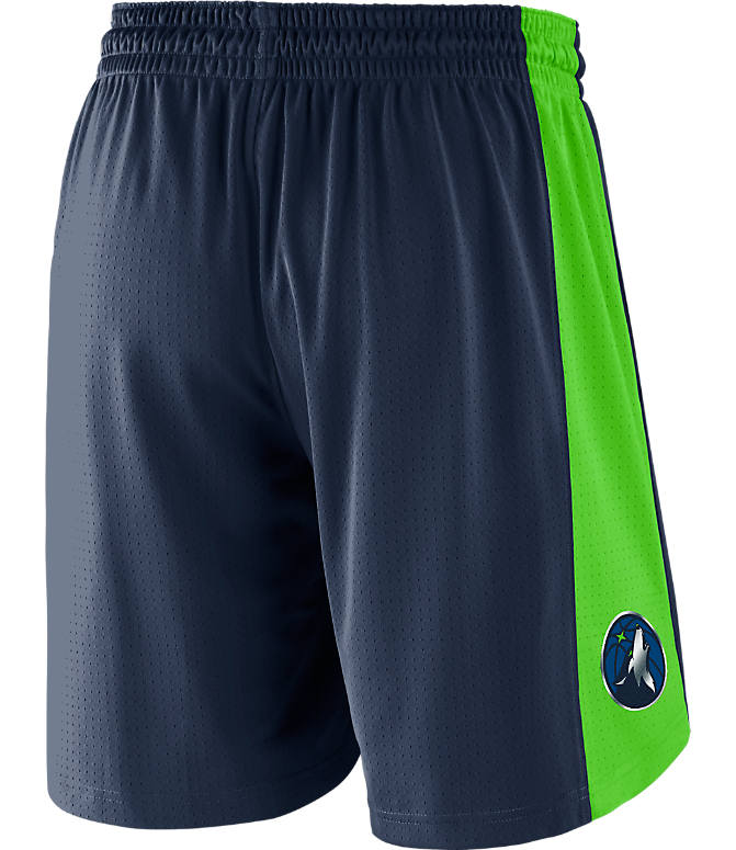 Front view of Men's Nike Minnesota Timberwolves NBA Practice Shorts in College Navy/Action Green