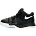 Left view of Boys' Toddler Nike Kyrie 3 Basketball Shoes in Black/White/Total Crimson/Bright Mango
