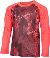 Boys' Preschool Nike Knurling Print & Swoosh Long-Sleeve T-Shirt