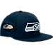 Front view of New Era Seattle Seahawks NFL Fresh Side Snapback Hat in Team Colors