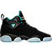 Right view of Girls' Grade School Jordan Jumpman Team II Premium Basketball Shoes in Black/Rio Teal/Metallic Gold
