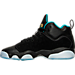 Left view of Girls' Grade School Jordan Jumpman Team II Premium Basketball Shoes in Black/Rio Teal/Metallic Gold