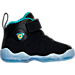 Right view of Girls' Toddler Jordan Jumpman Team II Premium Basketball Shoes in Black/Rio Teal/Metallic Gold
